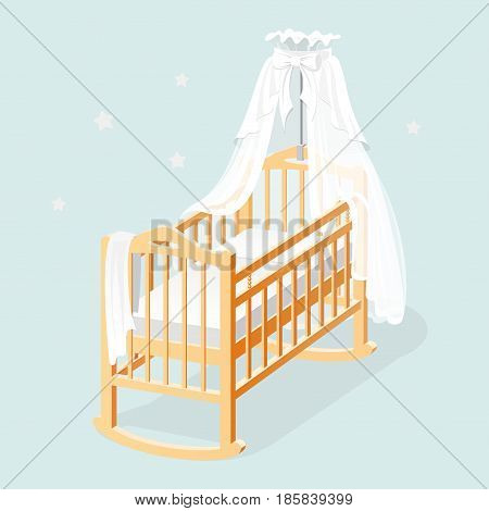 Baby cot with white canopy, mattress, and linens.