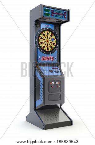 Electronic arcade darts machine on white background - 3D illustration