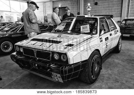 PAAREN IM GLIEN GERMANY - MAY 19: Sports car Lancia Delta HF Integrale 8V black and white