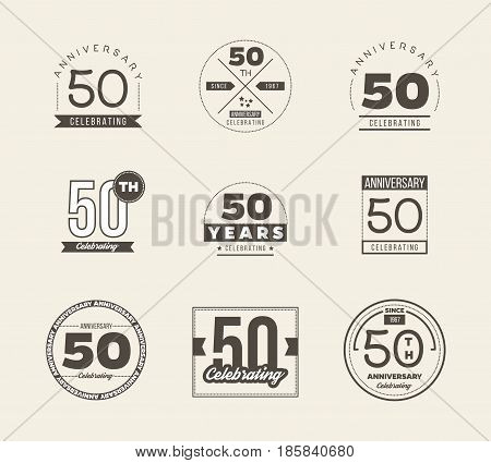 50 years anniversary logo set. Vector illustration.