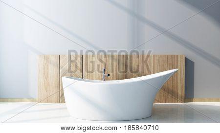 Modern design white luxury bathtub in a bathroom interior. 3d Rendering.