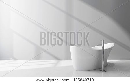 Modern design white luxury bathtub in a bathroom interior. 3d Rendering. poster