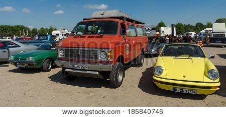 PAAREN IM GLIEN GERMANY - MAY 19: Cars Opel Manta B Dodge Ram Van and Porsche 912