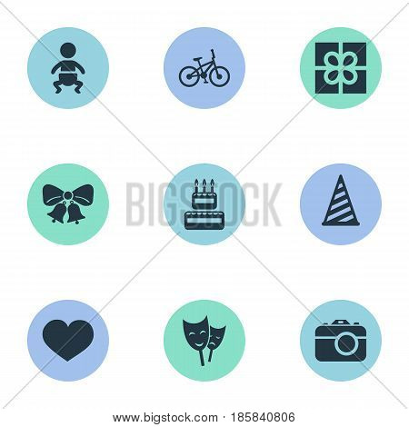 Vector Illustration Set Of Simple Celebration Icons. Elements Mask, Resonate, Infant And Other Synonyms Present, Bells And Sweetmeat.