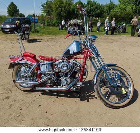 PAAREN IM GLIEN GERMANY - MAY 19: Motorcycle Harley Davidson Custom Chopper