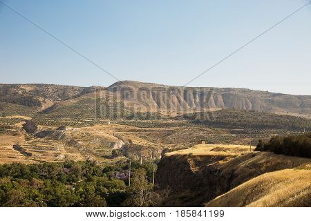 A view of the Syrian side of the Golan Heights in the Hamat Gader district . Israel .