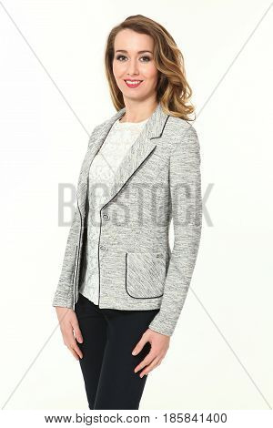 blond business woman in summer casual gray jacket back trousers close up photo isolated on white