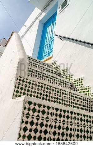 view of stairs of one house in frigiliana pueblo blanco spain