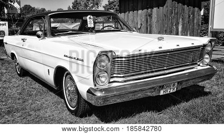 PAAREN IM GLIEN GERMANY - MAY 19: Full-size car Ford Galaxie 500 2-door hardtop (Third generation) black and white