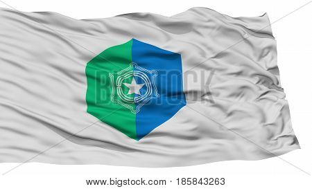 Isolated Sapporo Flag, Capital of Japan Prefecture, Waving on White Background, High Resolution