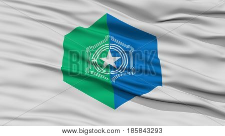 Closeup of Sapporo Flag, Capital of Japan Prefecture, Waving in the Wind, High Resolution