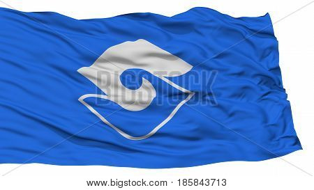 Isolated Shizuoka Flag, Capital of Japan Prefecture, Waving on White Background, High Resolution
