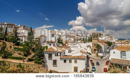 view of a city of ronda from a balcony spain