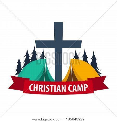 Christian Summer Camp. Evening Camping. Cross. Vector Illustration.