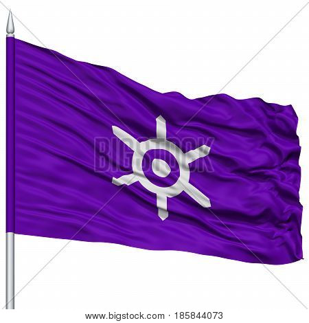 Tokyo Capital City Flag on Flagpole, Prefecture of Japan, Isolated on White Background