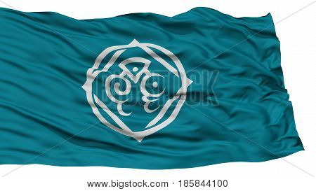 Isolated Tottori Flag, Capital of Japan Prefecture, Waving on White Background, High Resolution