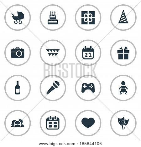 Vector Illustration Set Of Simple Celebration Icons. Elements Speech, Special Day, Box And Other Synonyms Fizz, Date And Flags.
