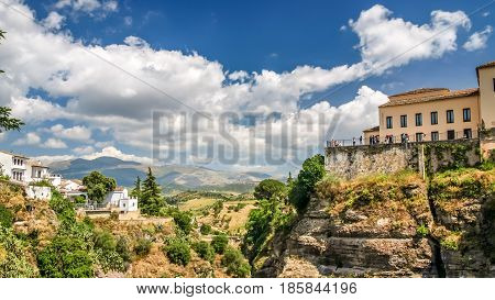 view of a building over cliff in ronda spain