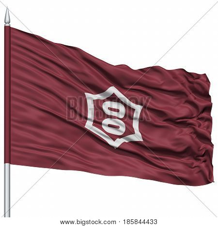Utsunomiya Capital City Flag on Flagpole, Prefecture of Japan, Isolated on White Background