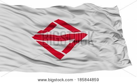 Isolated Yokohama Flag, Capital of Japan Prefecture, Waving on White Background, High Resolution