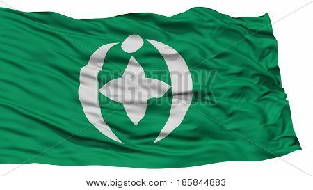 Isolated Chiba Flag, Capital of Japan Prefecture, Waving on White Background, High Resolution