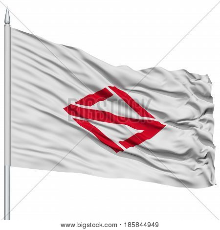 Yokohama Capital City Flag on Flagpole, Prefecture of Japan, Isolated on White Background