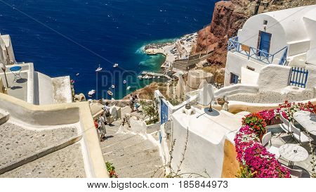 view of oia in santorini and a part of seaport