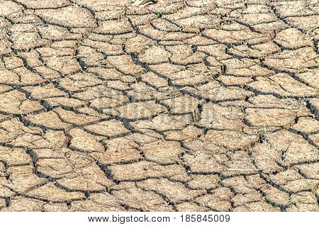 Cracked earth soil large drought. Soil structure and dry mud dried riverbed.