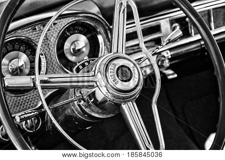 Paaren Im Glien, Germany - May 19: Cab Chrysler New Yorker (1954), Black And White, The Oldtimer Sho