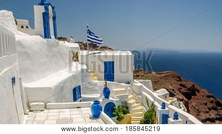 view of oia in santorini and part of caldera