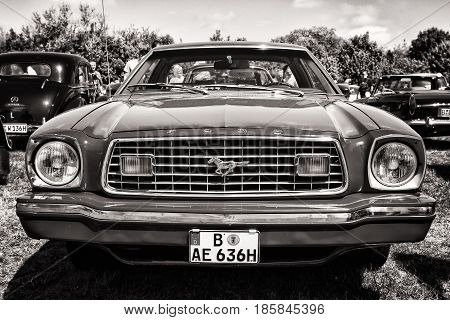 Paaren Im Glien, Germany - May 19: Pony Car Ford Mustang (second Generation), Black And White, The O