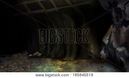 Entrance to an abandoned mine or to a large Cave. Digital Painting Background Illustration in cartoon style character.