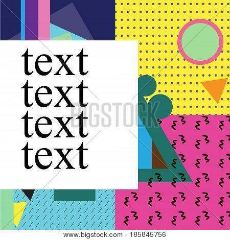 Memphis Cards With Geometric Elements. Vector Banner In Trendy 80S-90S Memphis Style. Can Be Used In