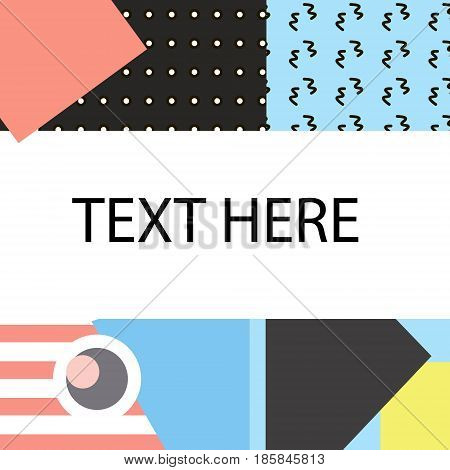 Memphis cards with geometric elements. vector banners in trendy 80s-90s memphis style. Can be used in cover design book design advertising