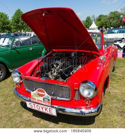 Paaren Im Glien, Germany - May 19: Open The Hood Of A Hardtop Coupe, Wartburg 312-300 Ht,