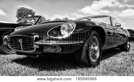 Paaren Im Glien, Germany - May 19: A Sports Car Jaguar E-type S3 V12 Engine, Black And White, The Ol