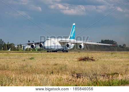 Kiev Region Ukraine - July 20 2012: Antonov An-124 Ruslan heavy cargo plane is taking off from the airport for another job