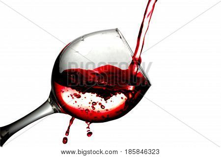 Red Desert Wine Poured In Glass On White Background