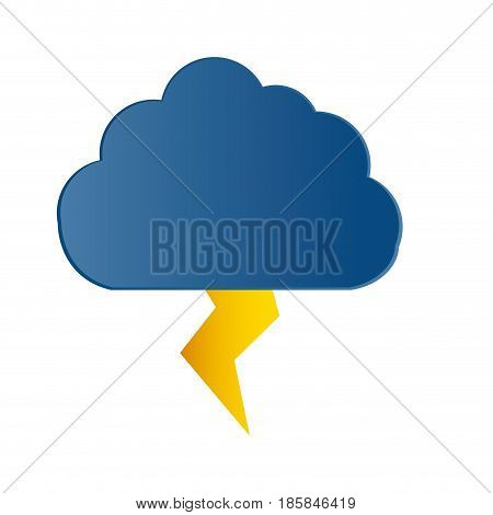 cloud and thunder icon over white background. vector illustration