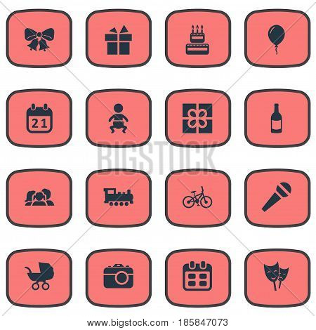 Vector Illustration Set Of Simple Birthday Icons. Elements Special Day, Infant, Days And Other Synonyms Jingle, Bike And Resonate.