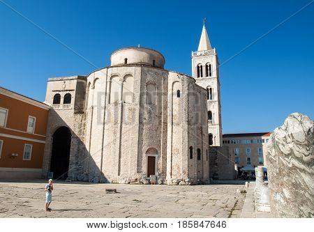 ZADAR CROATIA - The ancient UNESCO listed byzantine basilica of St Donatus in Zadar Croatia