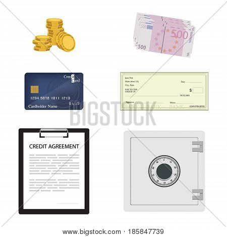 Vector illustration finance and banking icon set. Credit card coins euro banknotes check safe credit agreement and pos terminal.