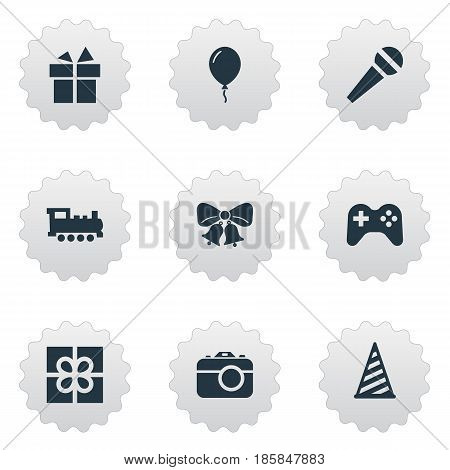 Vector Illustration Set Of Simple Holiday Icons. Elements Resonate, Box, Train And Other Synonyms Microphone, Bells And Resonate.