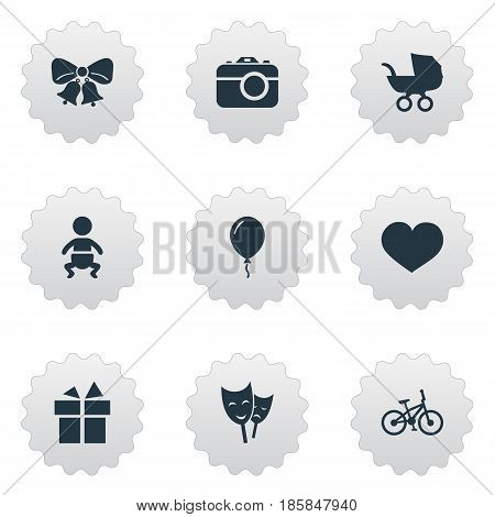 Vector Illustration Set Of Simple Birthday Icons. Elements Camera, Mask, Ribbon And Other Synonyms Aerostat, Photography And Bells.
