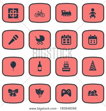 Vector Illustration Set Of Simple Celebration Icons. Elements Resonate, Aerostat, Box And Other Synonyms Fizz, Kid And Bells.