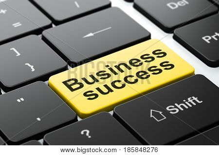 Business concept: computer keyboard with word Business Success, selected focus on enter button background, 3D rendering