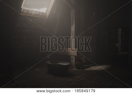 3d rendering of darken empty attic with light ray and sitting teddy bear