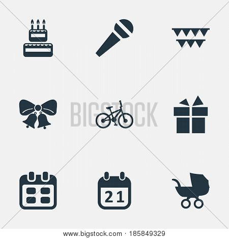 Vector Illustration Set Of Simple Celebration Icons. Elements Baby Carriage, Special Day, Days And Other Synonyms Stroller, Carriage And Microphone.