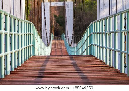 Beautiful of the longest suspension bridge in North eastern Region at Tana Rapids National ParkUbonratchatani Thailand