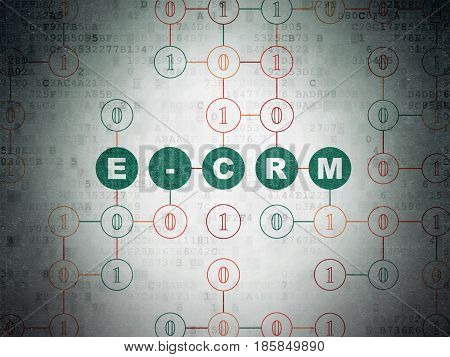 Business concept: Painted green text E-CRM on Digital Data Paper background with Binary Code